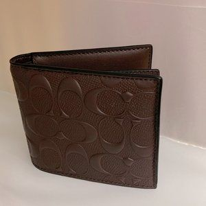 Coach Embossed Brown Leather Wallet + ID Card Case